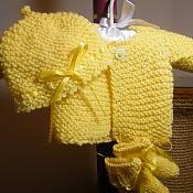 baby hat and sweater set/yellow   ( newborn)