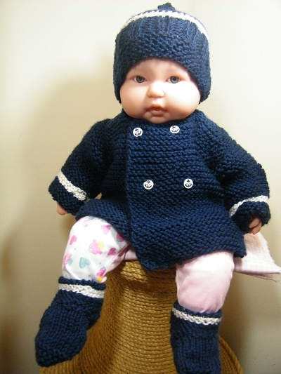 Navy blue & white baby sweater set w/booties